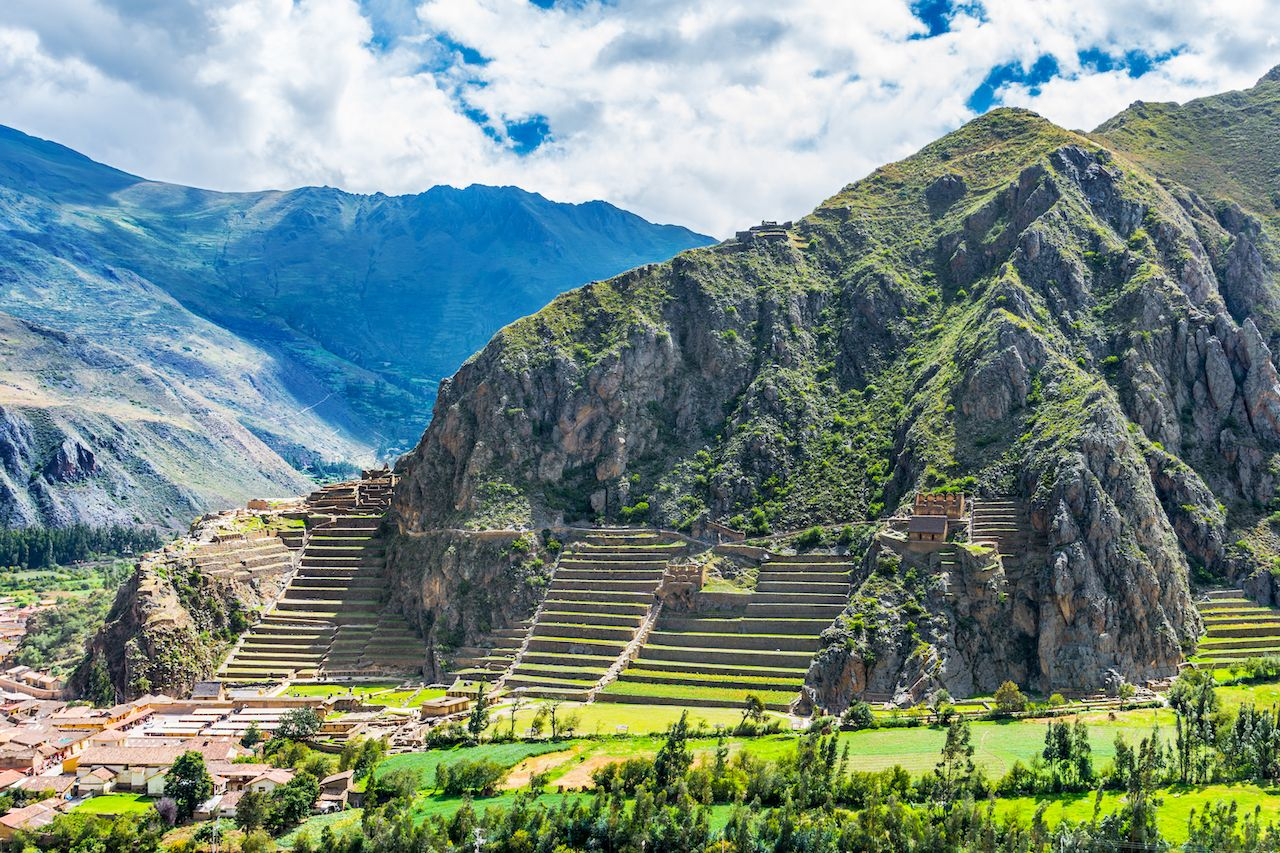 Inca Fortress with Terraces and Temple Hill in Ollantaytambo, Cusco, Peru. Ollantaytambo was the royal estate of Emperor Pachacuti who conquered the region, best hiking in Peru