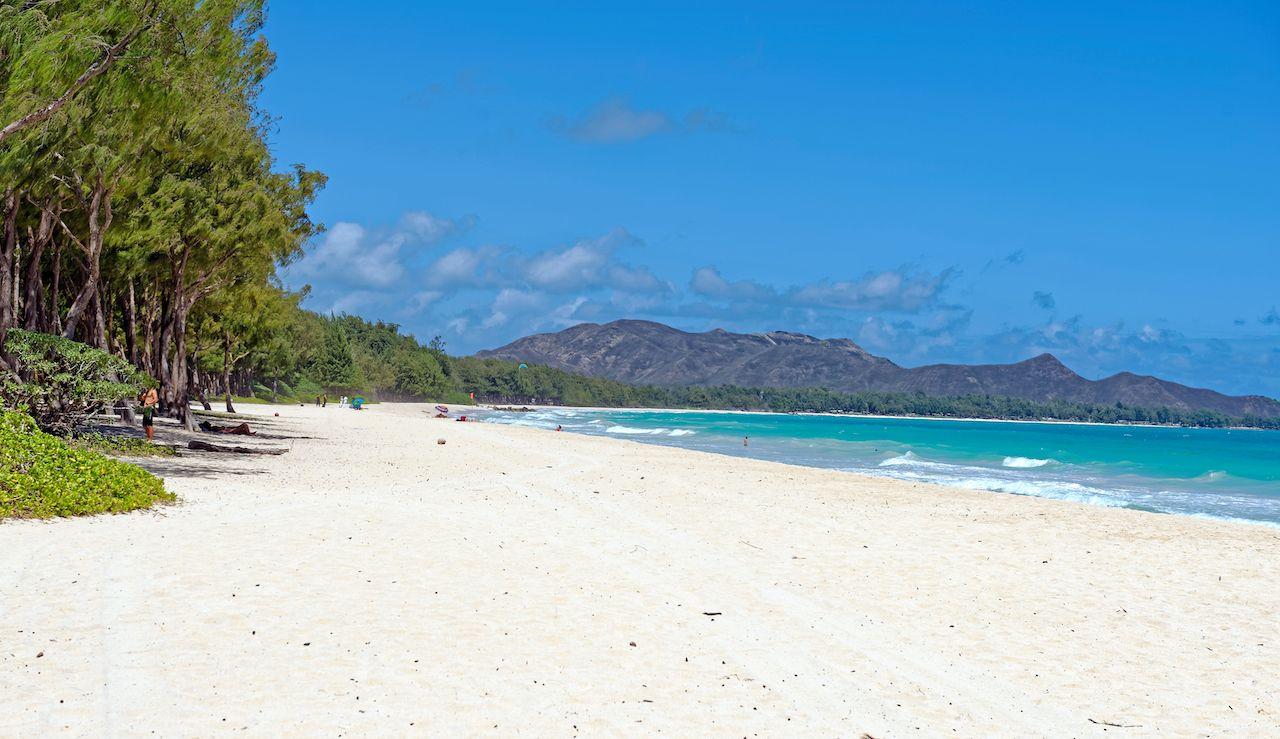 Iconic Waimanalo Beach view in southeast Oahu, Hawaii, Oahu beaches for families