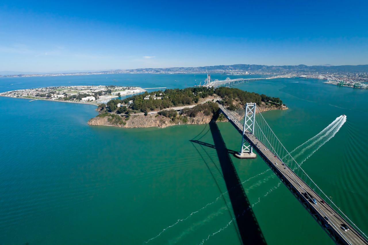 San Francisco Bay bridge and Treasure Island aerial view,  Islands in San Francisco Bay