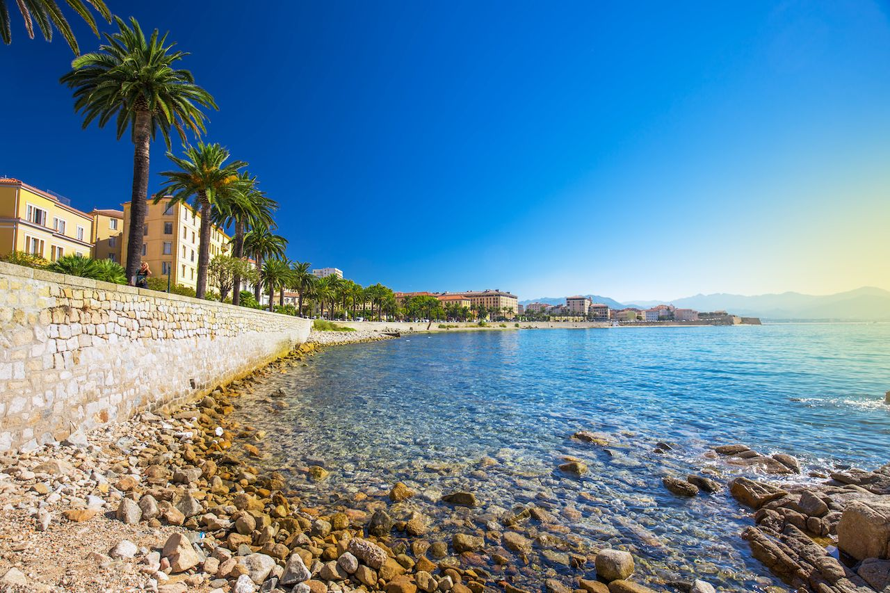Ajaccio old city center coastal cityscape with palm trees and typical old houses, Corsica, France, Europe., August travel