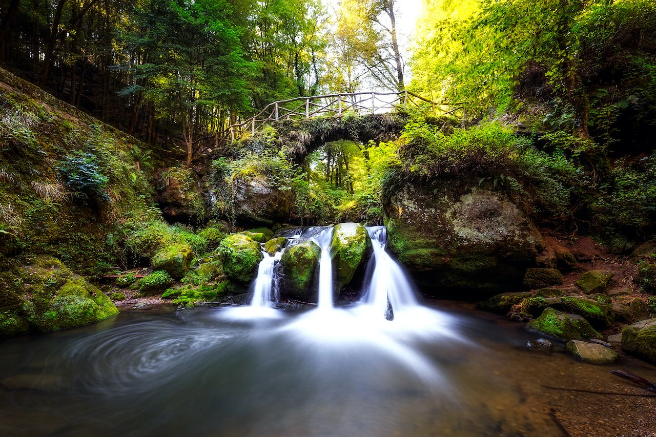 Waterfalls in the Mullerthal, lokally known as Schiessentuempel, August travel