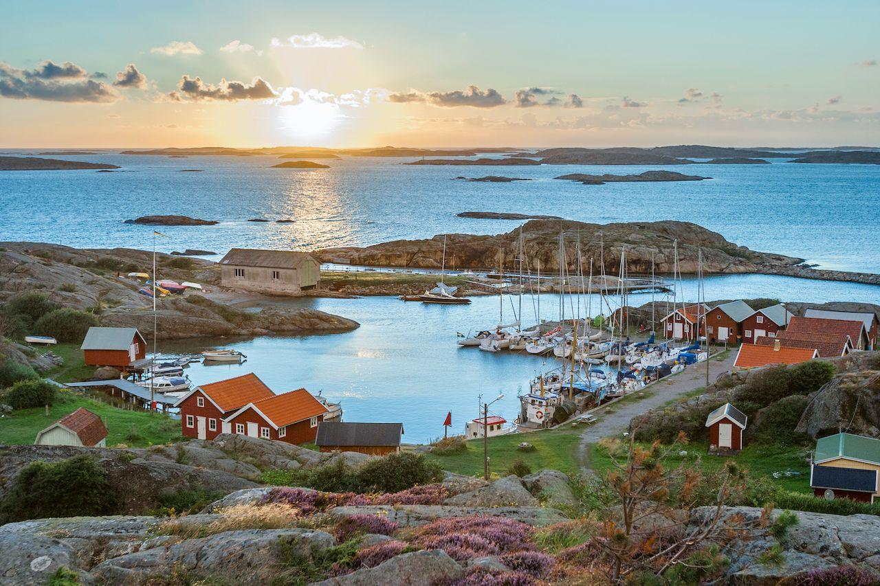 fishing harbour of swedish skerry Island of Ramsoe,western skerries,sweden, August travel