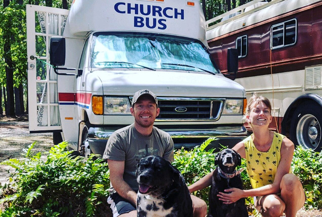 Church bus conversion with dogs, Church bus conversion,  live in converted bus