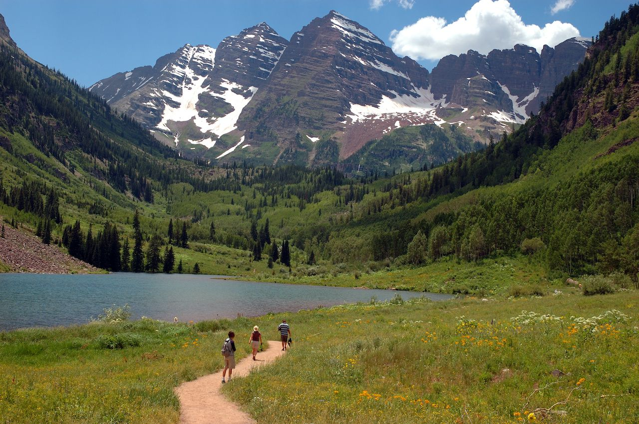 Walking,Path,On,The,Shore,Of,Maroon,Lake,,Colorado,Near, Colorado summer road trip