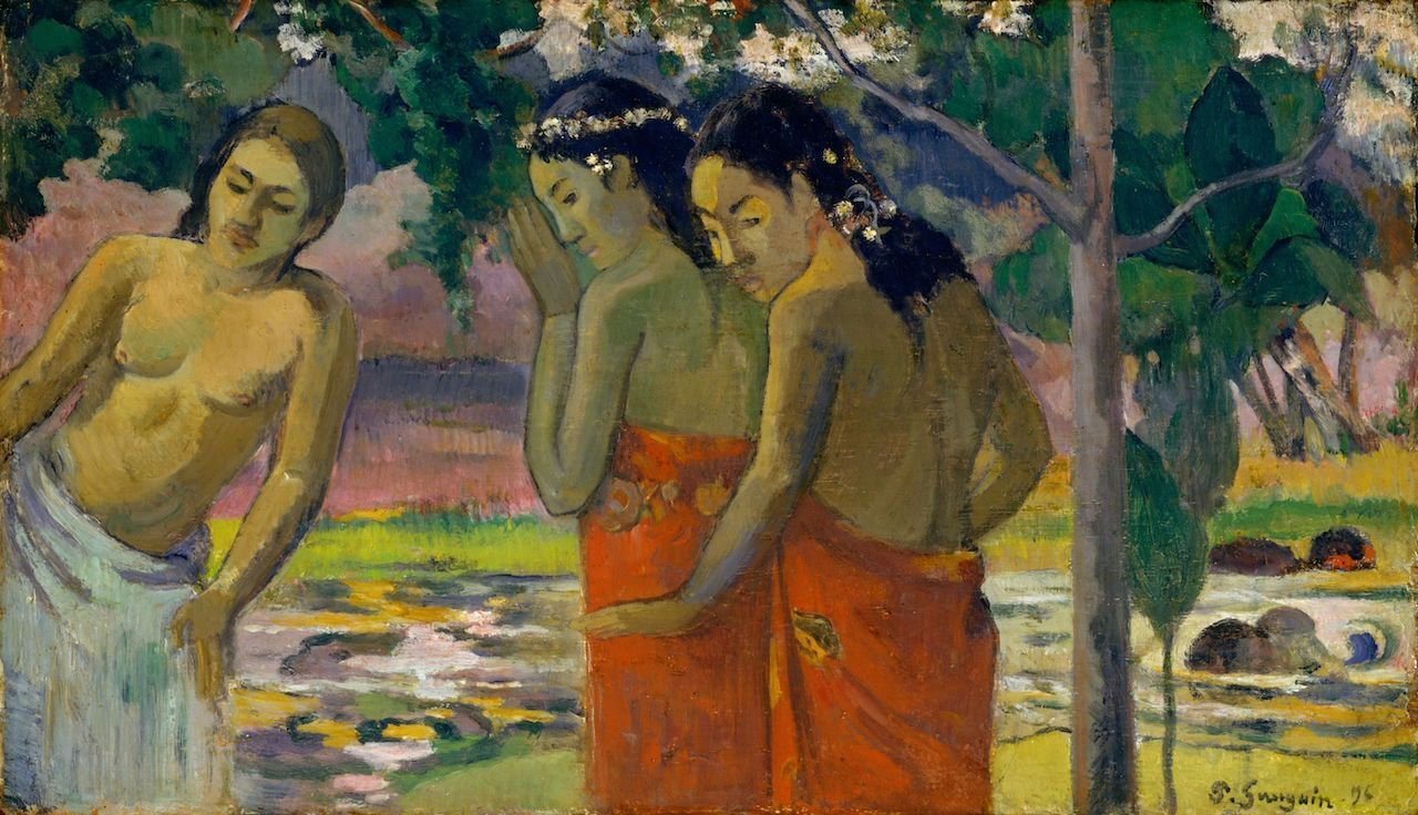 Three Tahitian Women, by Paul Gauguin, 1896, French Post-Impressionist painting, oil on canvas. The women are dressed in pareus in a tropical landscape, French Polynesia travel