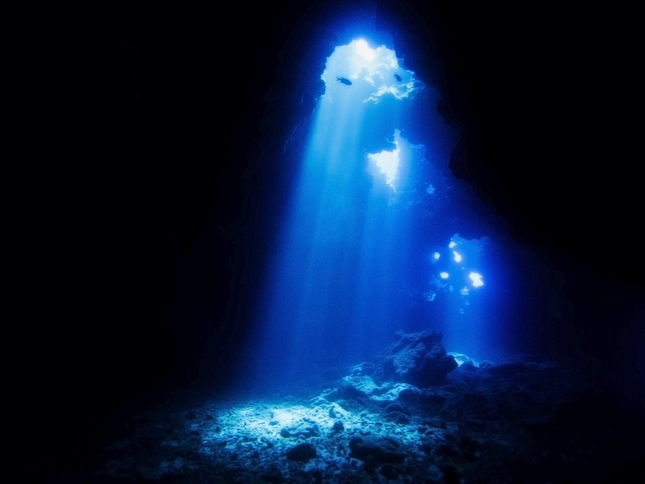 Cathedrals Dive Site Hawaii with Beams of Sunlight Entering Lava, Hawaii's Islands