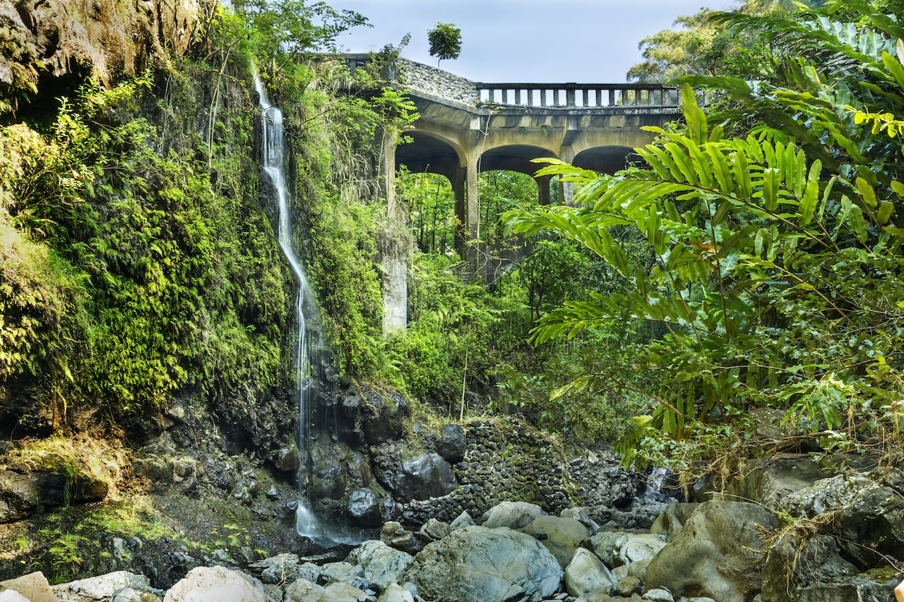 Bridge on the Hana Highway across the Wailua Nui Stream near the Upper Waikuni Falls on Maui Island, Hawaii's Islands