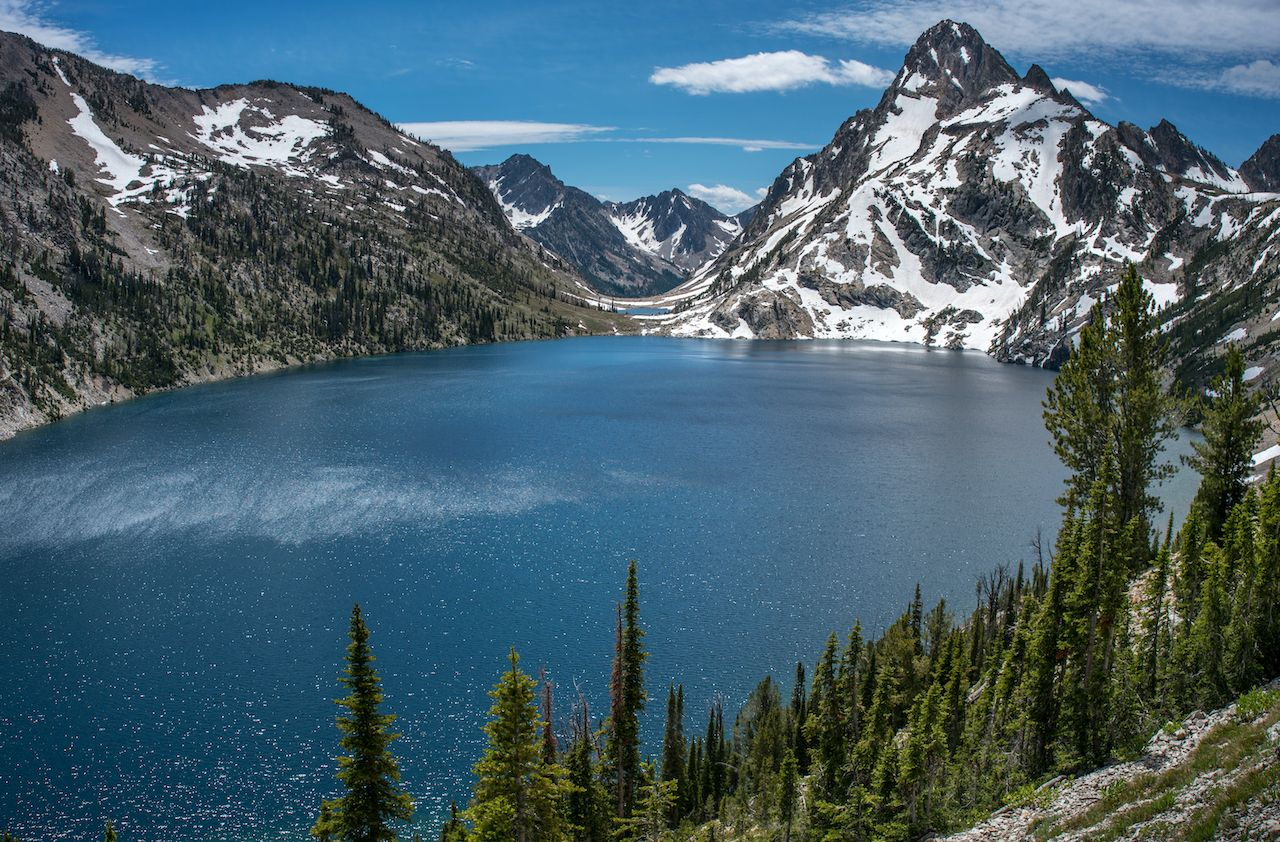 Sawtooth,Lake,In,Idaho,Wilderness,Framed,With,Pine,Trees,And, hikes in the Sawtooth