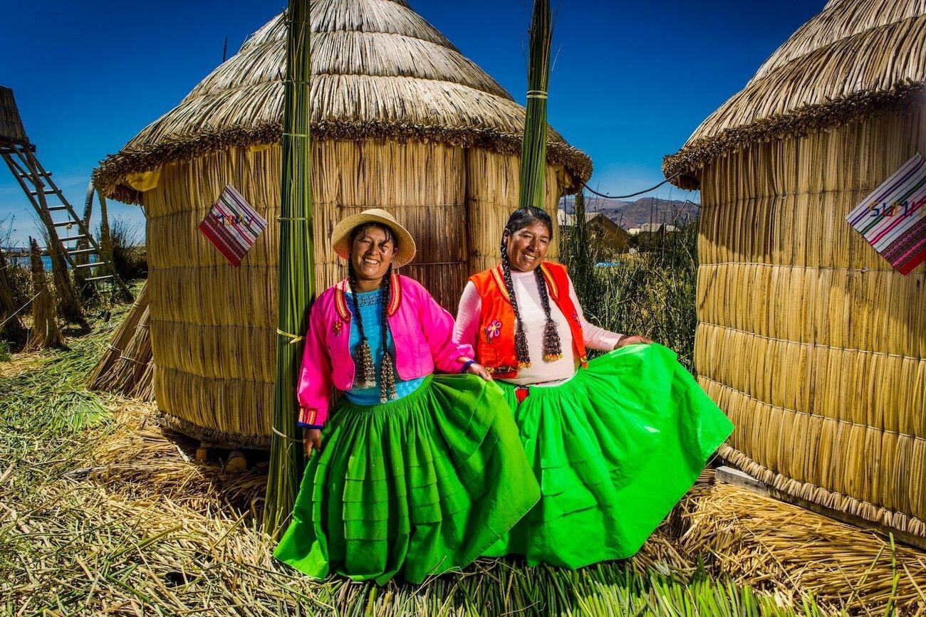 Local women on Lake Titicaca's Uros Islands
