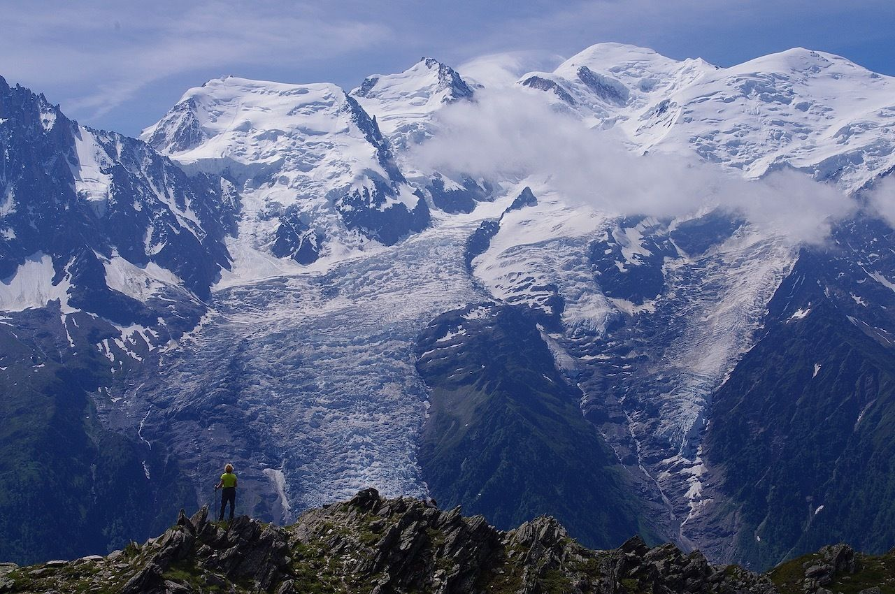 Mont Blanc and Glacier views from Le Brevent,hikes to glaciers