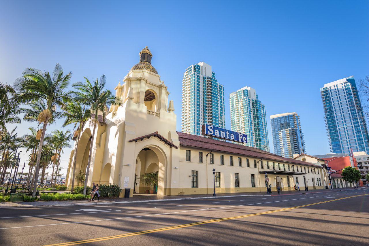 San,Diego,,California,-,February,26,,2016:,Santa,Fe,Depot, beautiful train stations