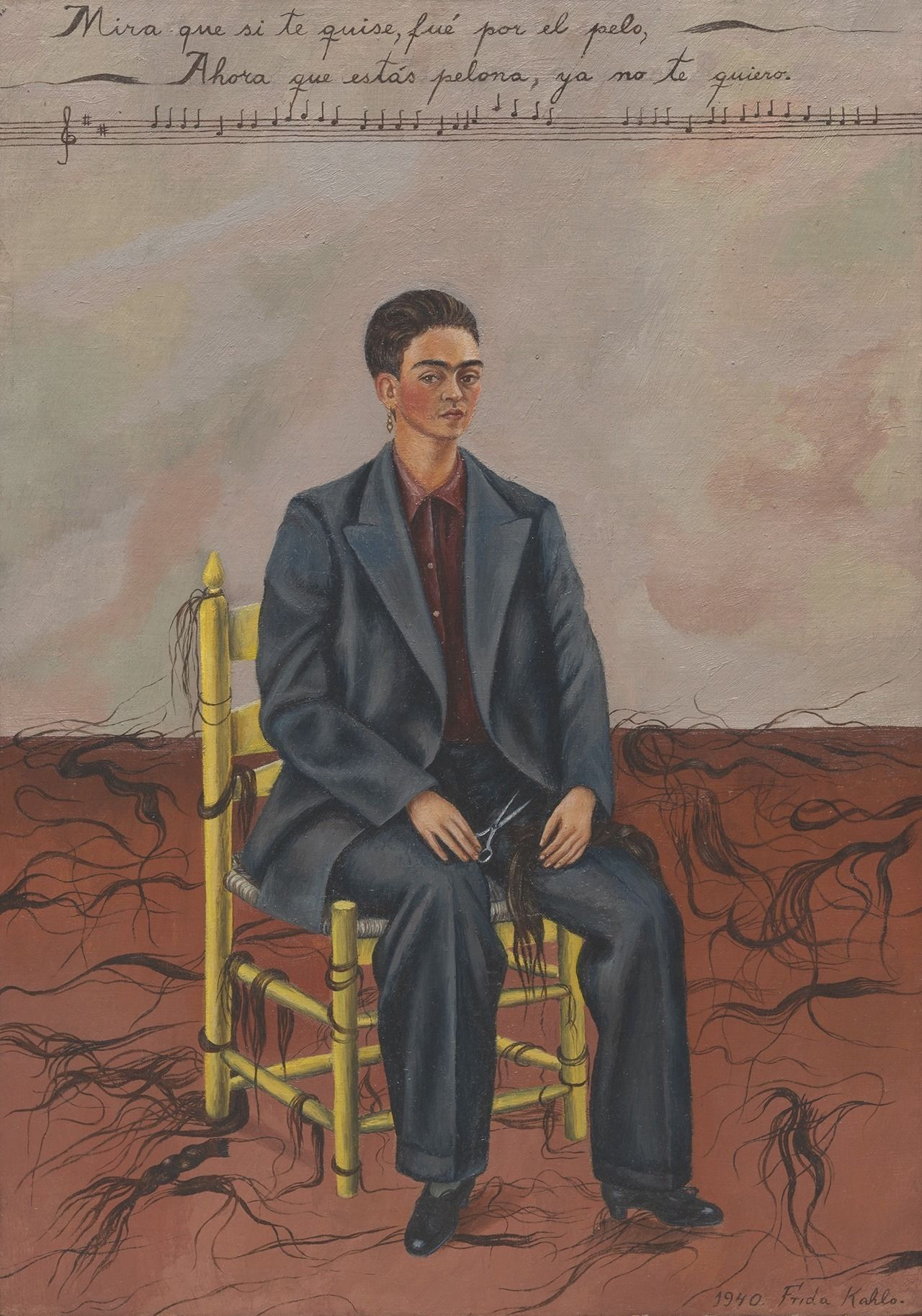 Self Portrait with Cropped Hair by Frida Kahlo at MoMA in New York City, The MoMa