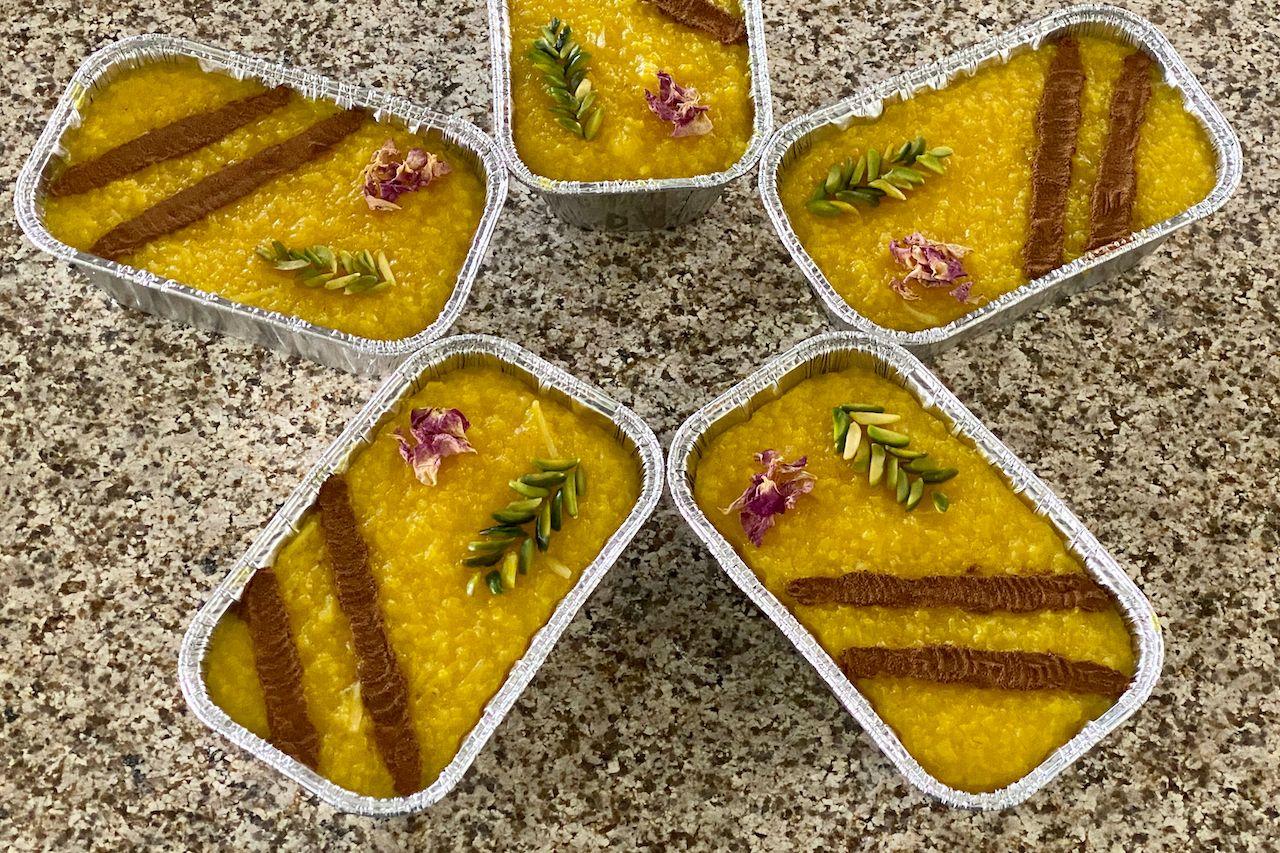 Persian,Sholezard,Garnished,Sweet,Restaurant,Dessert