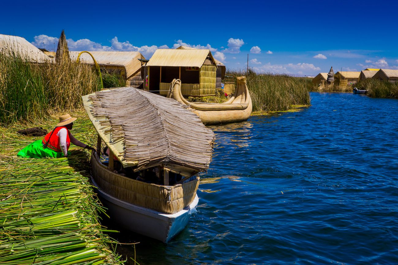 The Uros Islands and the boats made of totora reeds