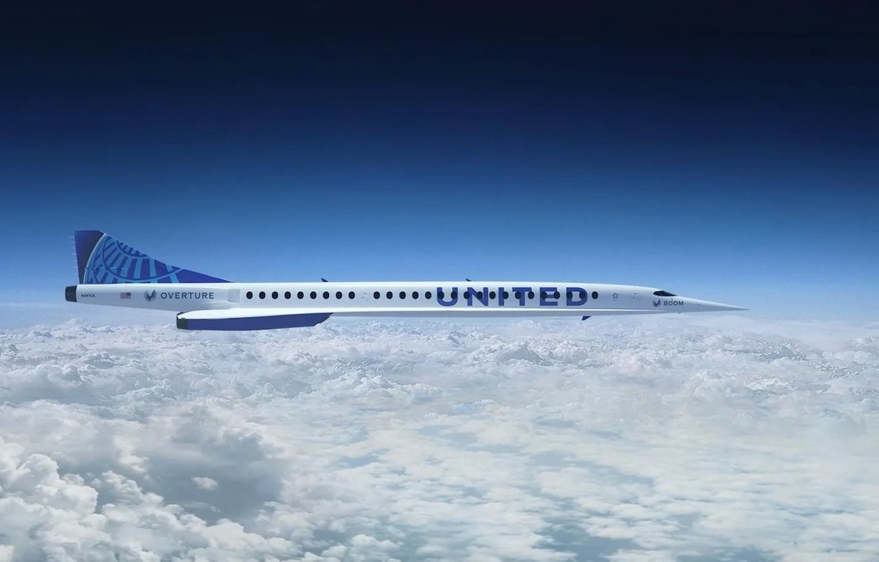 United Airlines orders supersonic planes flying over clouds, united supersonic aircraft