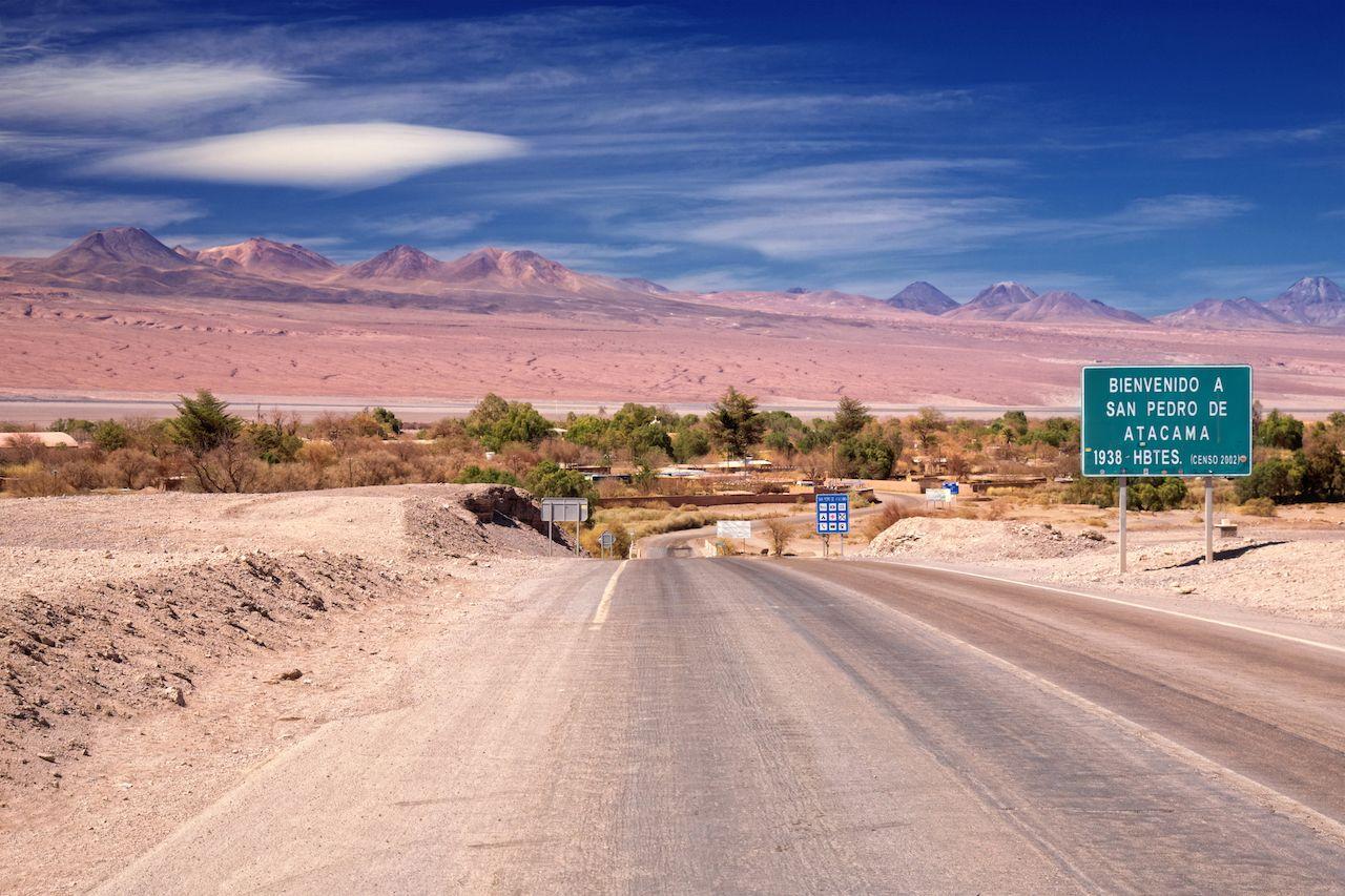 entrance road to San Pedro de Atacama, desert Atacama, Chile, Atacama Desert