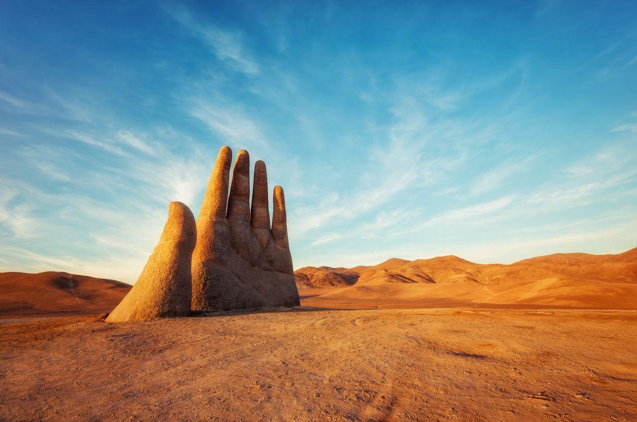 Mano del Desierto, Desert Hand, Chile, Next to Public Highway taken in 2015, Atacama Desert