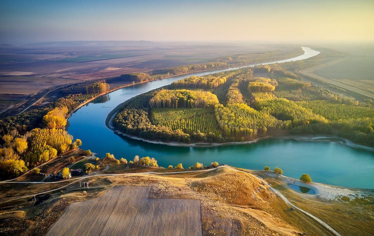 Aerial,View,Of,The,Danube,River,Shore,In,Summer,,Dobrogea,paddling the Danube Delta