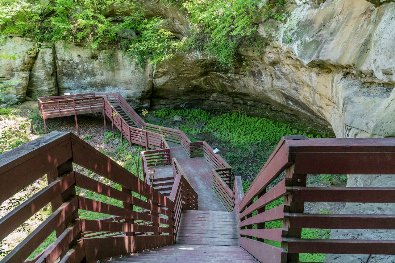 Indian Cave State Park, Nebraska, stairs built by Americorps in the 1970s, experience Nebraska