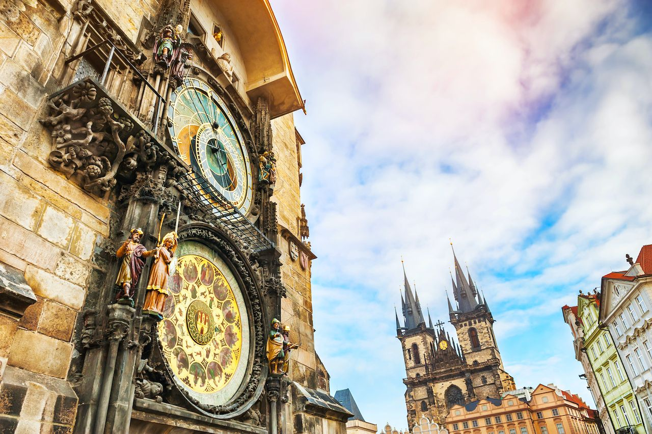 Historical medieval astronomical clock in Old Town Square in Prague, Czech Republic, Prague art and culture