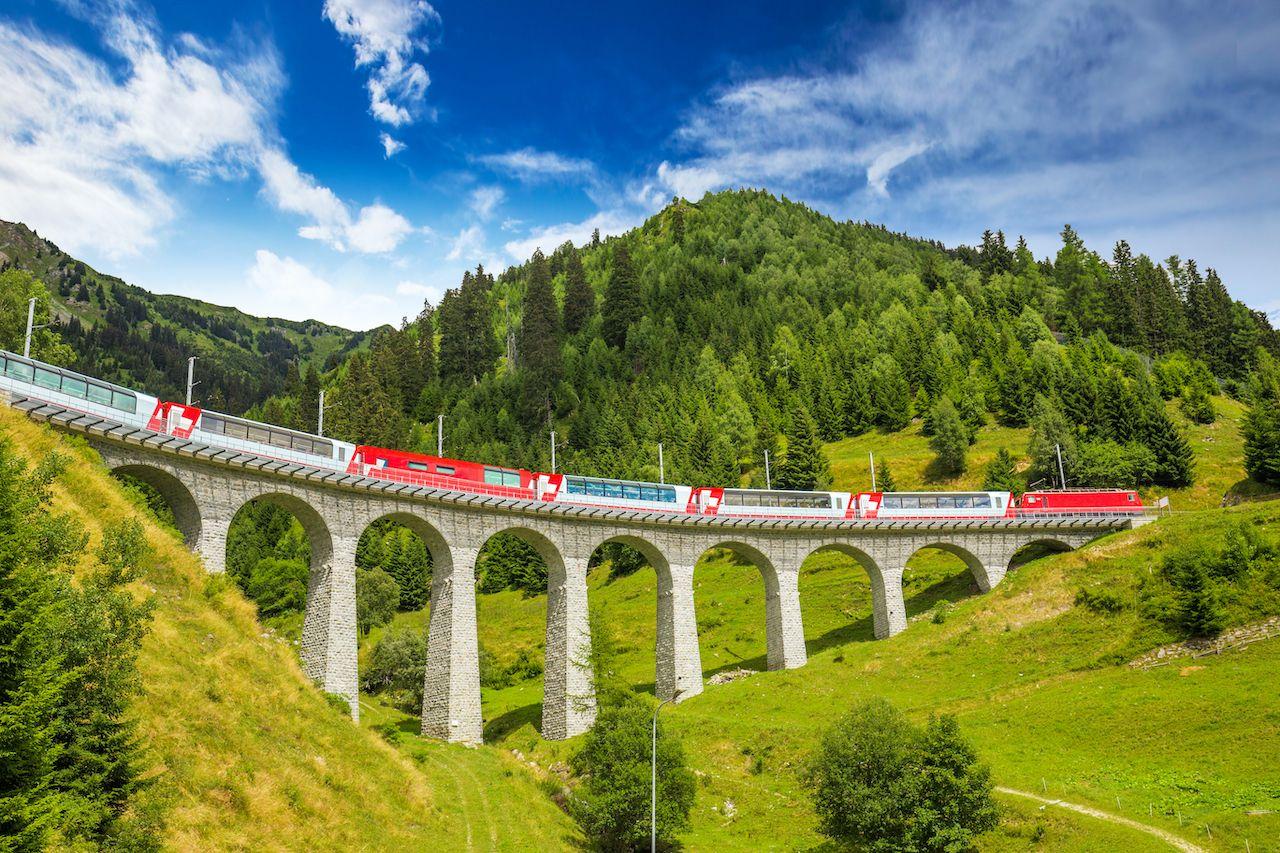 Train,On,Famous,Landwasser,Viaduct,Bridge.the,Rhaetian,Railway, one week in Switzerland