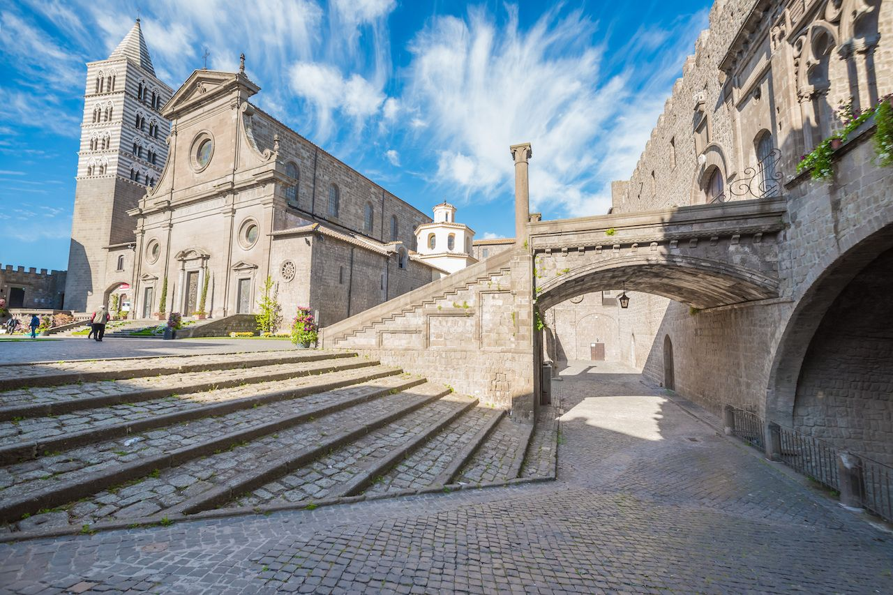 Viterbo,,Italy,-,A,Sunday,Sping,Morning,In,The,Medieval,  Tuscia town
