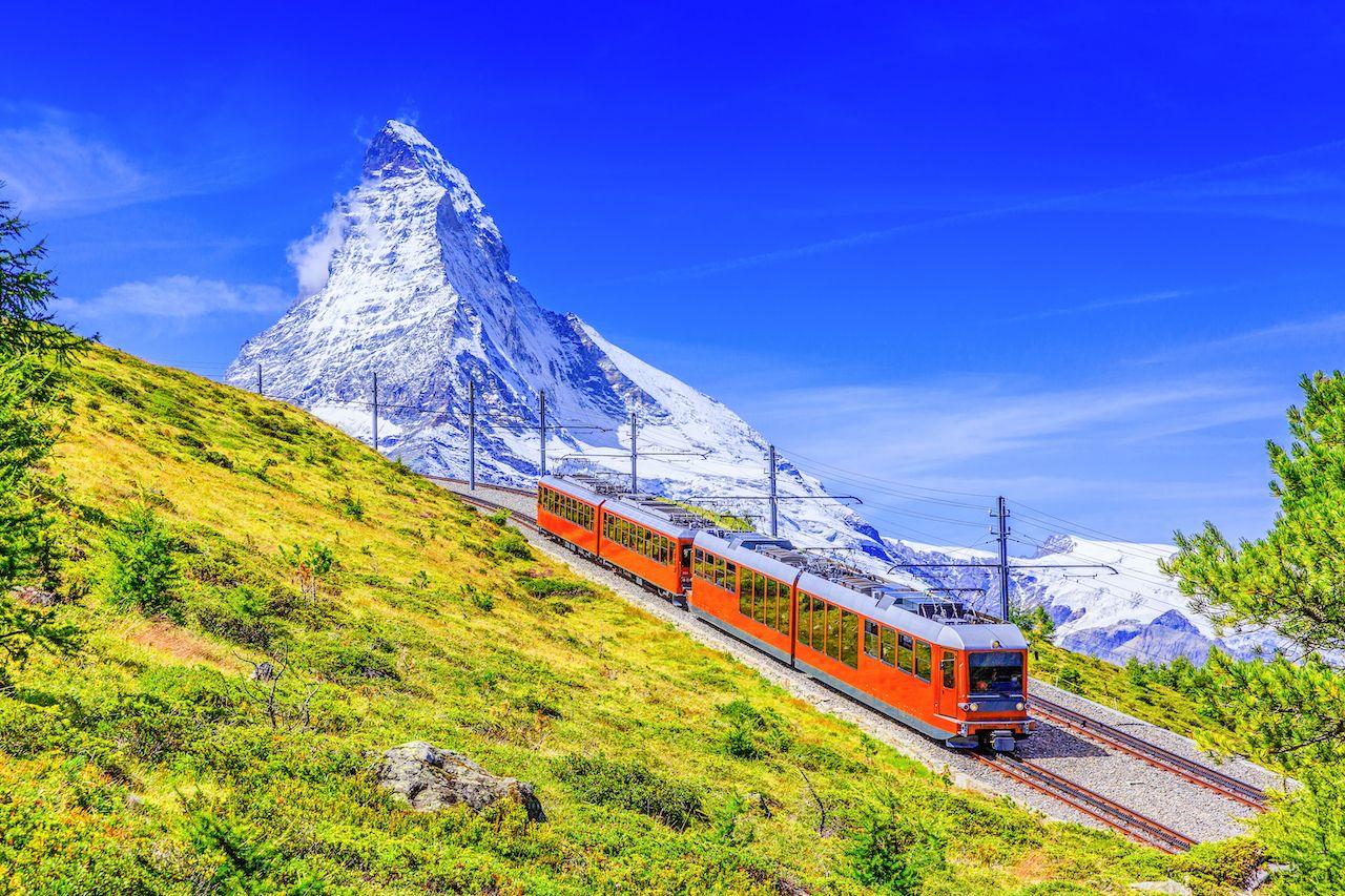 Zermatt,,Switzerland.,Gornergrat,Tourist,Train,With,Matterhorn,Mountain,one week in Switzerland