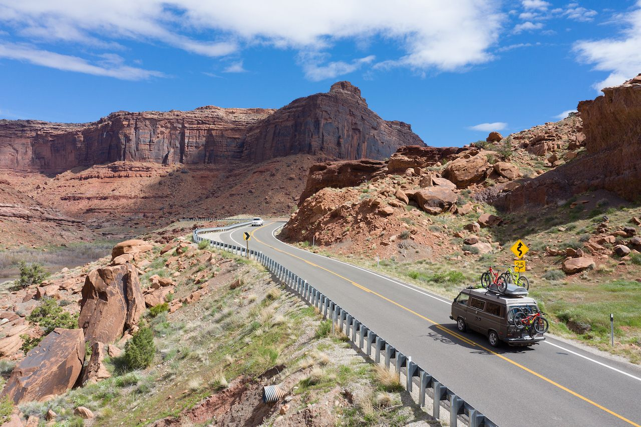Moab,,Utah,,Usa,April,21,,2019:camper,Van,Driving,Towards,The, Where to camp for free in a van
