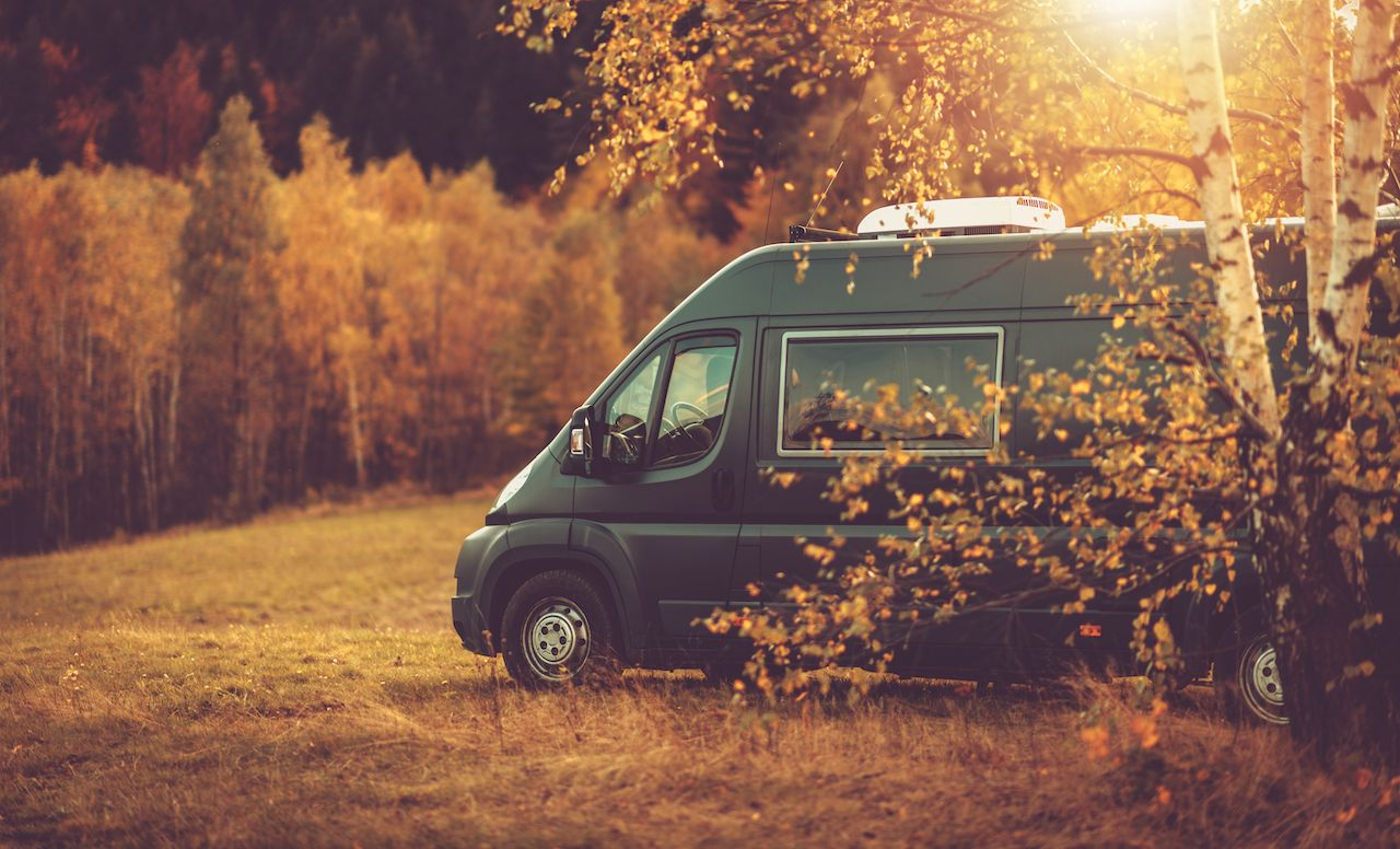 Autumn,Fall,Foliage,Rv,Recreational,Vehicle,Camper,Van,Road,Trip,  Where to camp for free in a van