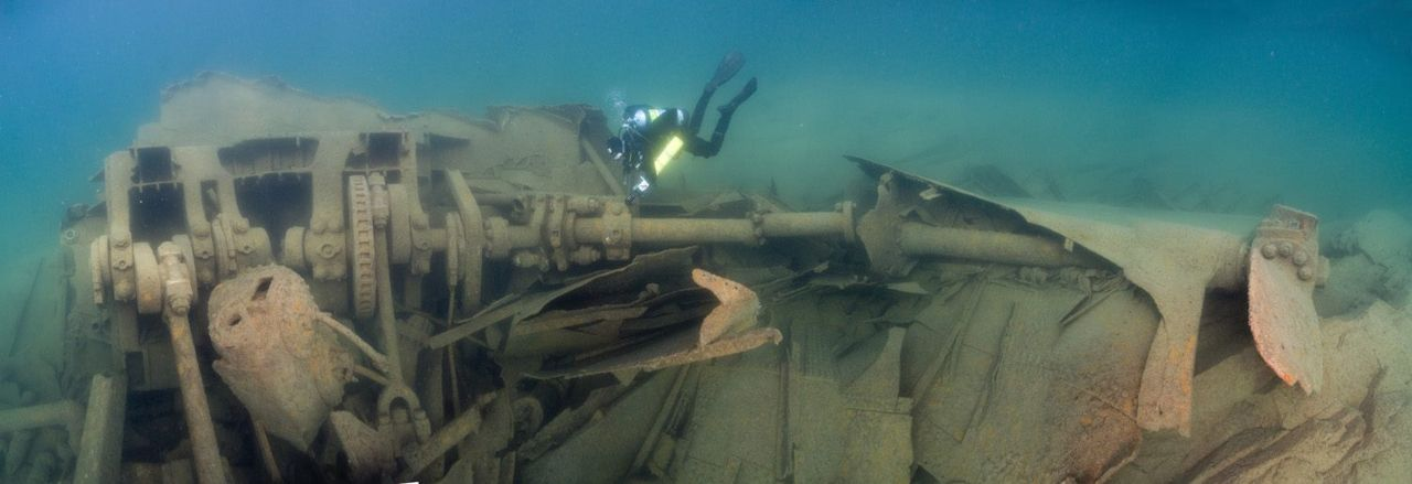 Scuba diving in Isle Royale, Halloween 1924 marked one of the worst storms Lake Superior had experienced in years. Hurricane velocity winds and colossal waves caused this freighter to run aground on one of the island's many reefs.