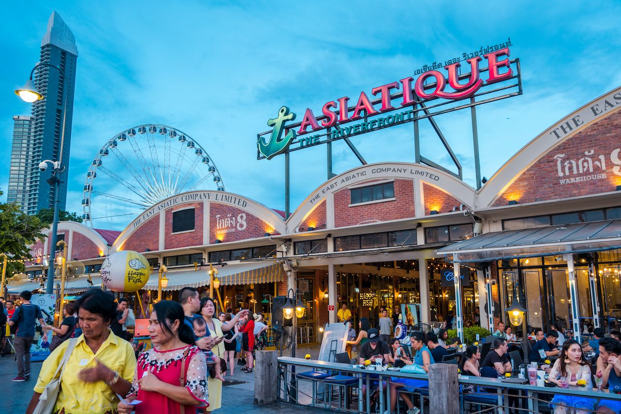 BANGKOK, THAILAND - JUNE 2, 2019 : Ferris wheel at Asiatique, The Riverfront is a large open-air mall in Bangkok. It occupies the former docks of the East Asiatic Company, faces the Chao Phraya River., bangkok art and culture