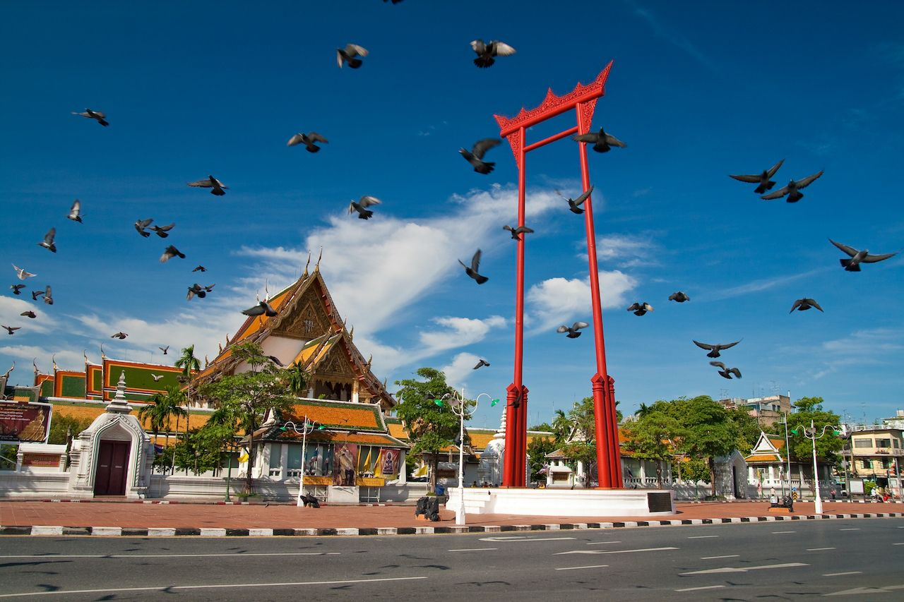 Pigeon Crowd, Giant Swing, Sutat Temple, Bangkok, Thailand, bangkok art and culture