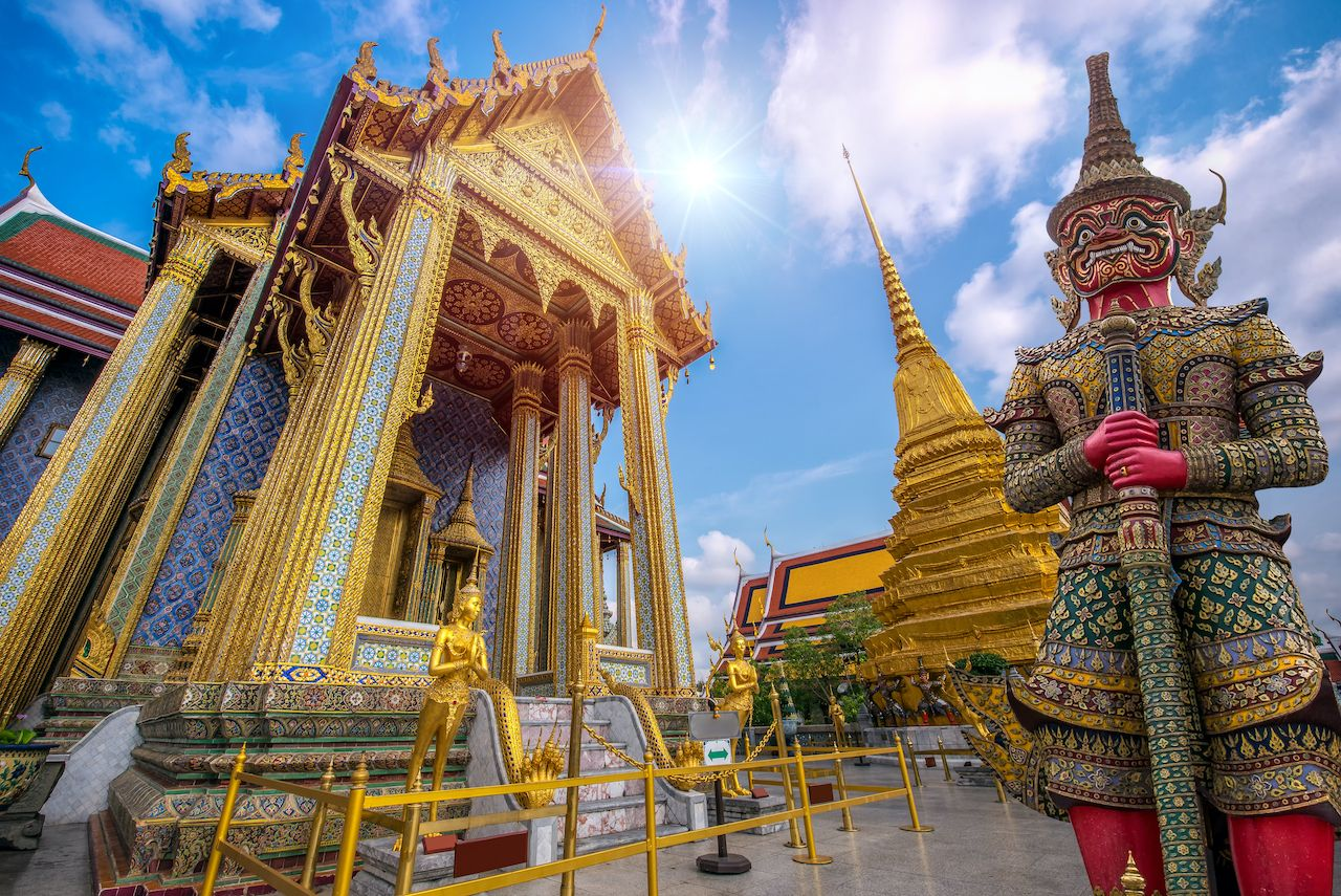 Wat Phra Kaew, Temple of the Emerald Buddha Wat Phra Kaew is one of Bangkok's most famous tourist sites and it was built in 1782 at Bangkok, Thailand, bangkok art and culture
