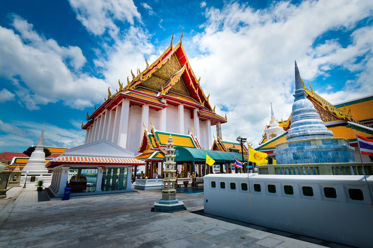 Bangkok, Thailand - June,12,2019: This is the Wat Kalayanamit temple or Wat Kanlayanamit temple. This temple has big Buddha statue . Located by the Chao Phraya River ,Bangkok, Thailand., bangkok art and culture