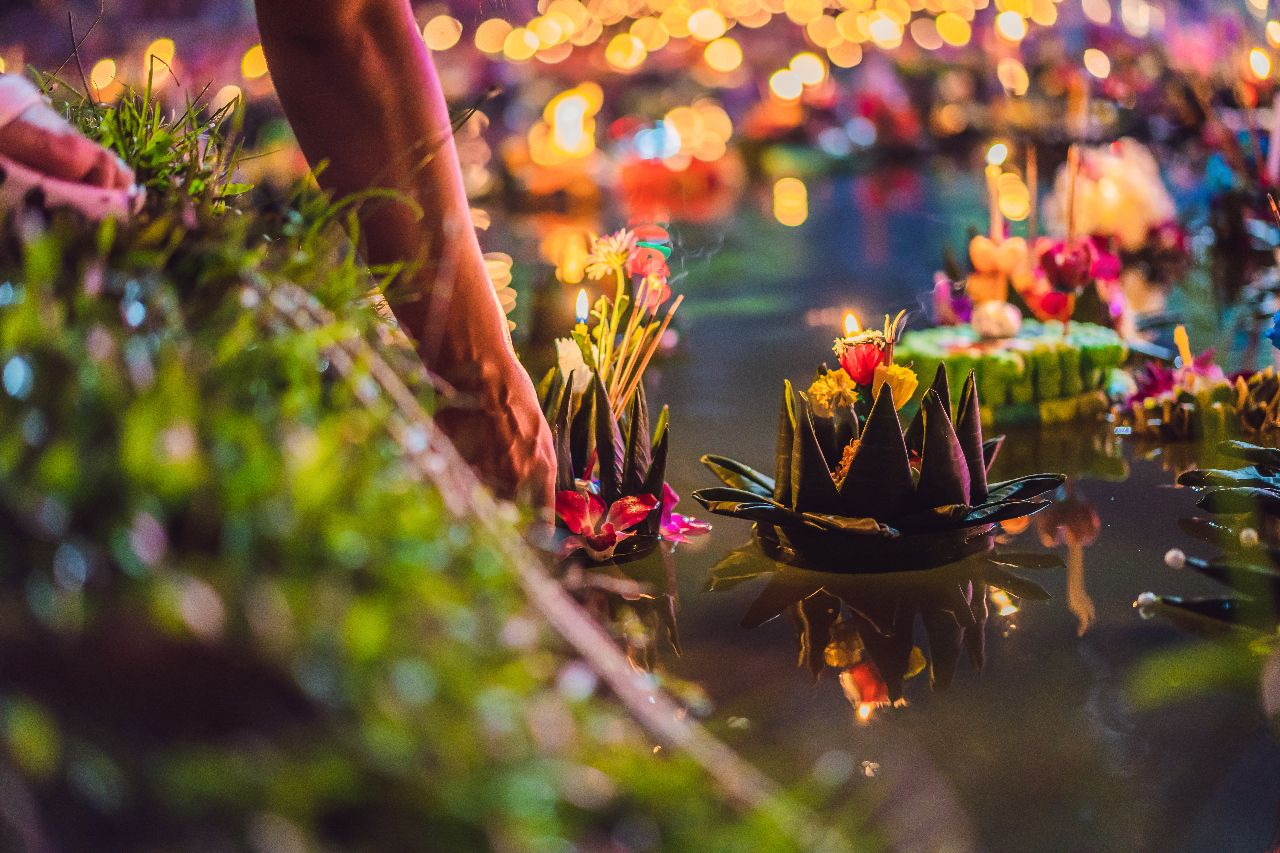 Loy Krathong festival, people buy flowers and candles to go to light and float on water to celebrate Loy Krathong festival in Thailand, bangkok events