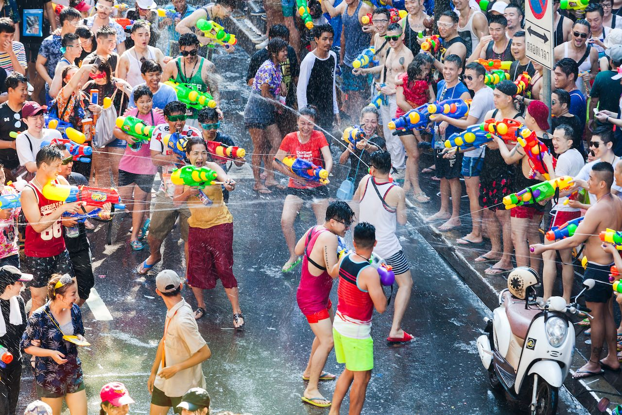 SONGKRAN BANGKOK, THAILAND - April 13: Famous Songkran Festival in Silom on April 13, 2017. One of the most popular water fight places during Songkran in Bangkok, Thailand., bangkok events
