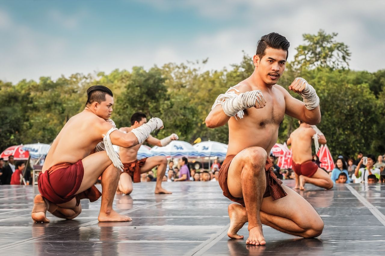 BANGKOK, THAILAND - FEBUARY 20: Unidentified Thai boxers perform thai boxing arts (Muay Thai) in a campaign for the conservation of Thai traditional martial arts, bangkok events