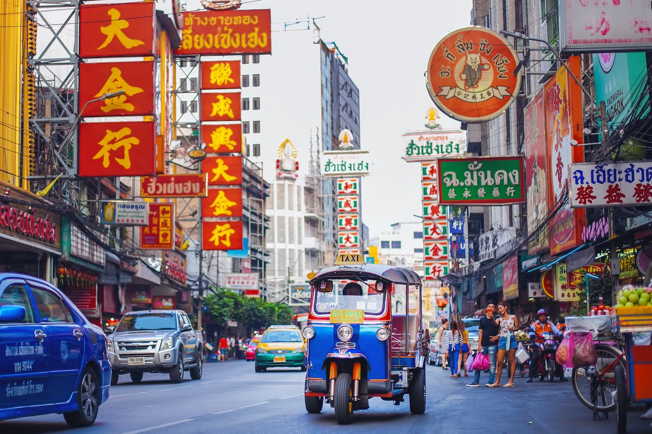 CHINATOWN, BANGKOK - 9 AUG: Morning traffic at Yaowarat road, the main street of Chinatown in Bangkok on August 9, 2017. Chinatown is one of the famous landmark in Bangkok., bangkok neighborhoods