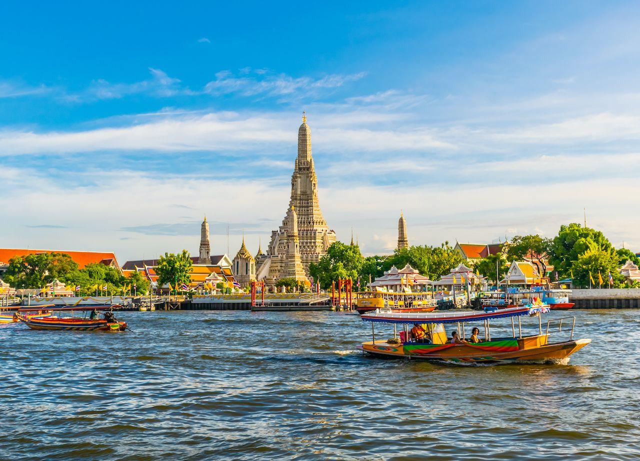 5 Aug 2019, Bangkok, Thailand, Chedi, Wat Arun Wararam Beautiful pagoda by the river Bangkok's landmarks created during the early Rattanakosin period., bangkok neighborhoods