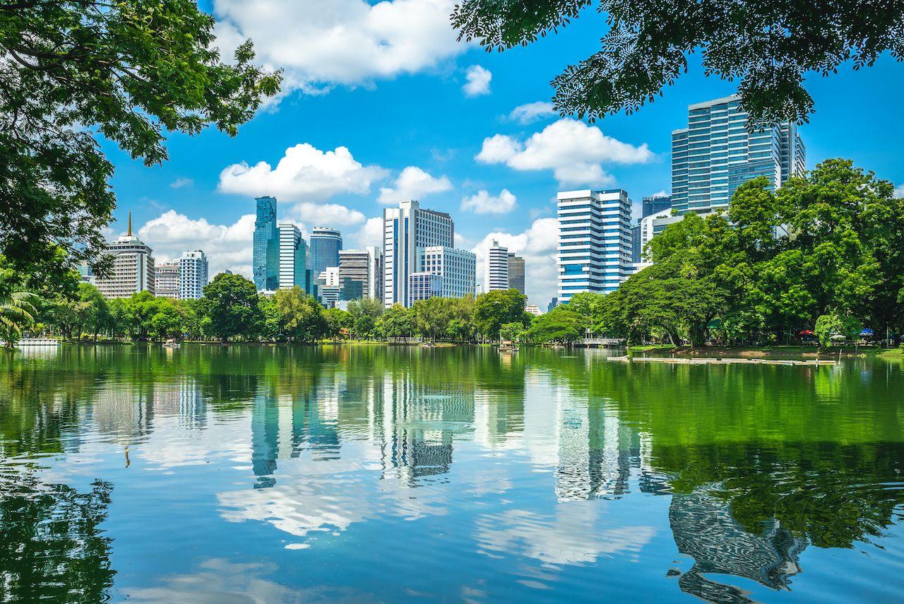 scenery of Lumphini Park at Bangkok, Thailand, bangkok neighborhoods