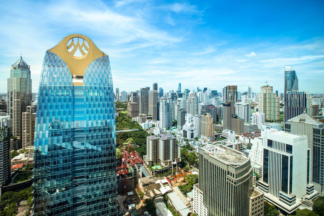 BANGKOK,THAILAND-JULY30 2020:Krungsri Ayudhya Bank hight  office building,central business district, Sukhumvit area on clear day. bangkok neighborhoods