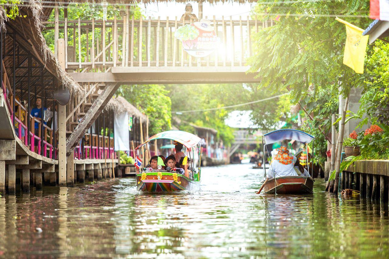 Bangkok, Thailand - 2 September: Famous community markets, Thonburi district Open only Saturday - Sunday, Thai Floating Market, Lat Mayom Canal, on 2 September 2018 in Bangkok, Thailand, bangkok neighborhoods