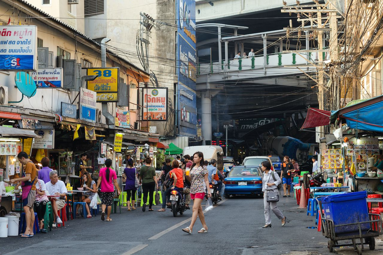 BANGKOK, THAILAND, February 16, 2015: View on the Sukhumvit Soi 38, famous place of street food in the Thong Lor district in Bangkok, Thailand, bangkok neighborhoods