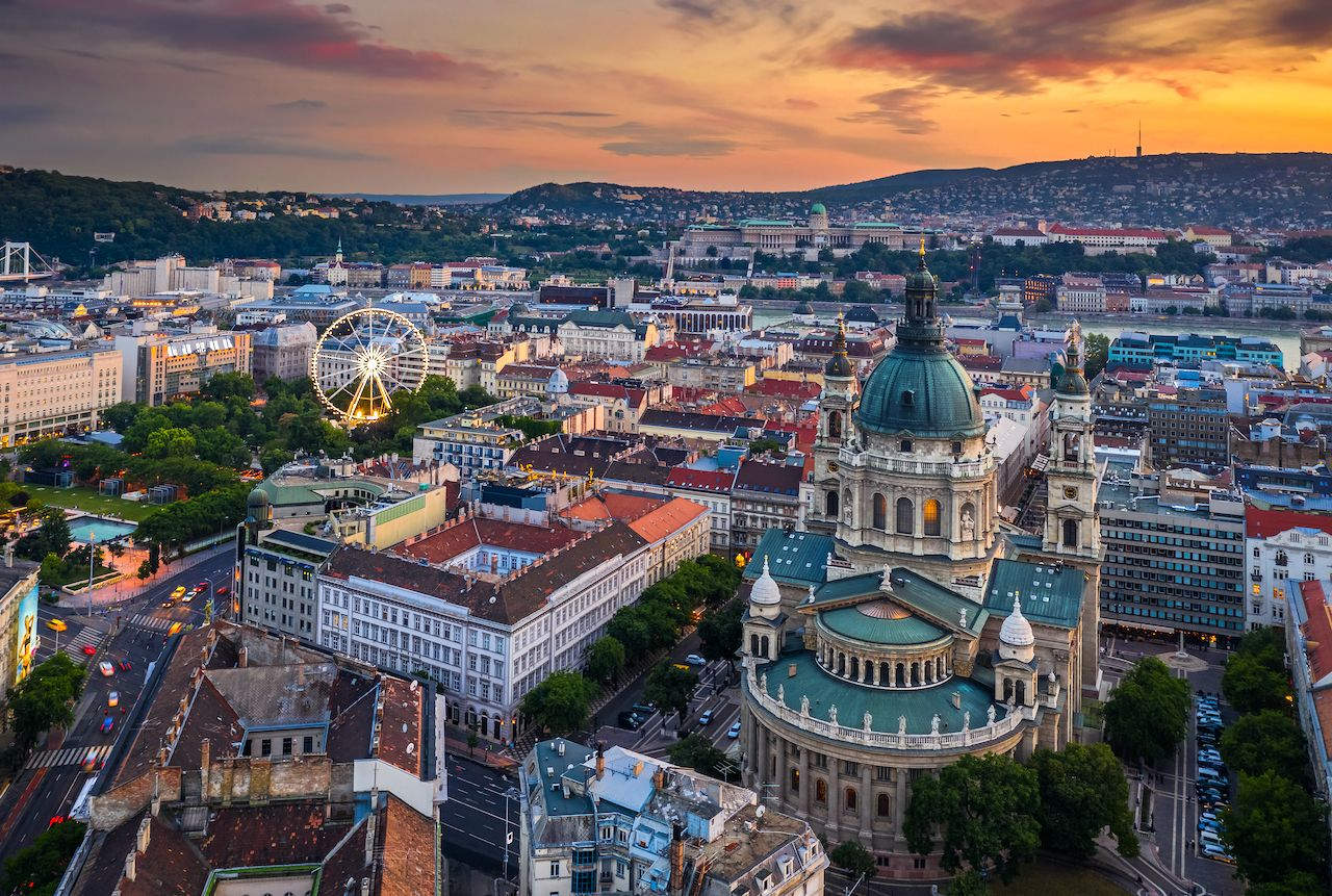 Budapest,,Hungary,-,Aerial,Skyline,View,Of,Budapest,At,Sunset, Blockbuster shot in Budapest