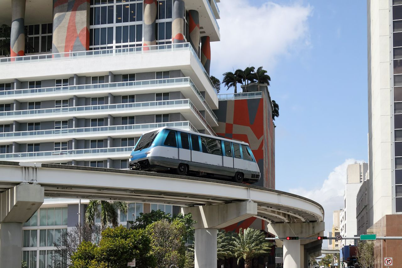 The,Fully,Automated,Miami,Downtown,Train,System,With,The,City, Car rental alternatives