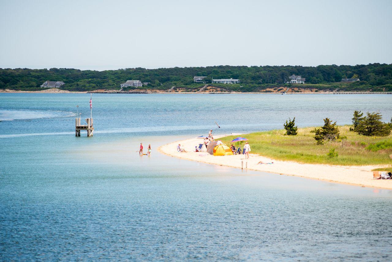 Swimmers,On,Chappaquiddick,Beach,In,Edgartown,Harbor, Martha's Vineyard