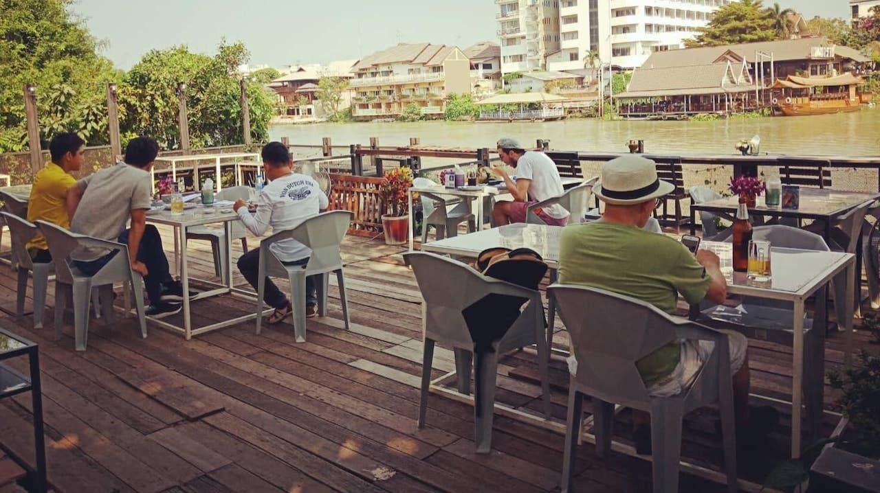 Lunch atmosphere, waterfront zone today, sunny and cool breeze Ban Khun Phra Restaurant, dsy three in Bangkok