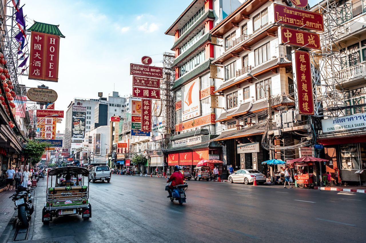 Yaowarat, Bangkok / Thailand - February 11, 2020: Traffic jam in Yaowarat Road, tourists are known as China Town or Chinatown, daytime photo, day two in bangkok