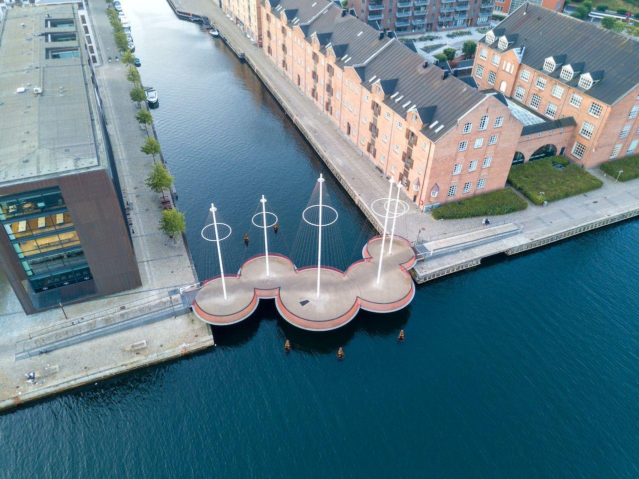 Copenhagen, Denmark - May 27, 2019: Aerial drone view of the modern Circle Bridge, a pedestrian bridge in the harbour area., Denmark architecture