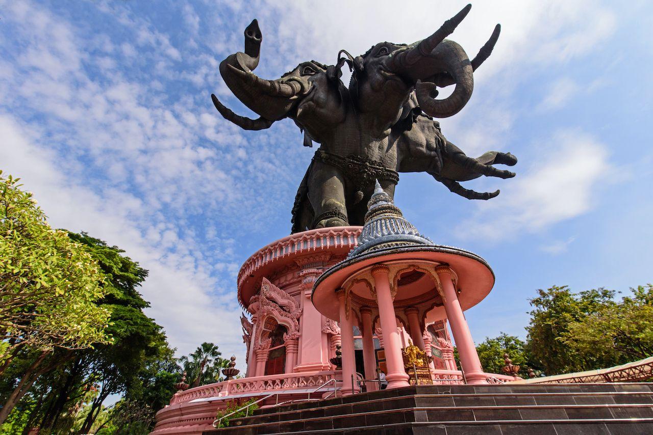 Erawan museum, Bangkok Thailand, elephant statue in the sunlight, Bangkok art and culture